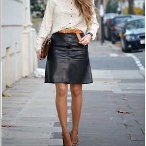 Newport News Brown Leather Lined Pencil Skirt